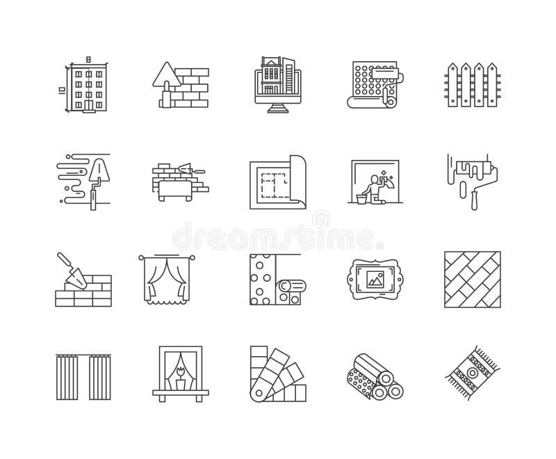 Linha ?cones do decorador, sinais, grupo do vetor, conceito da ilustra??o do esbo ilustração royalty free