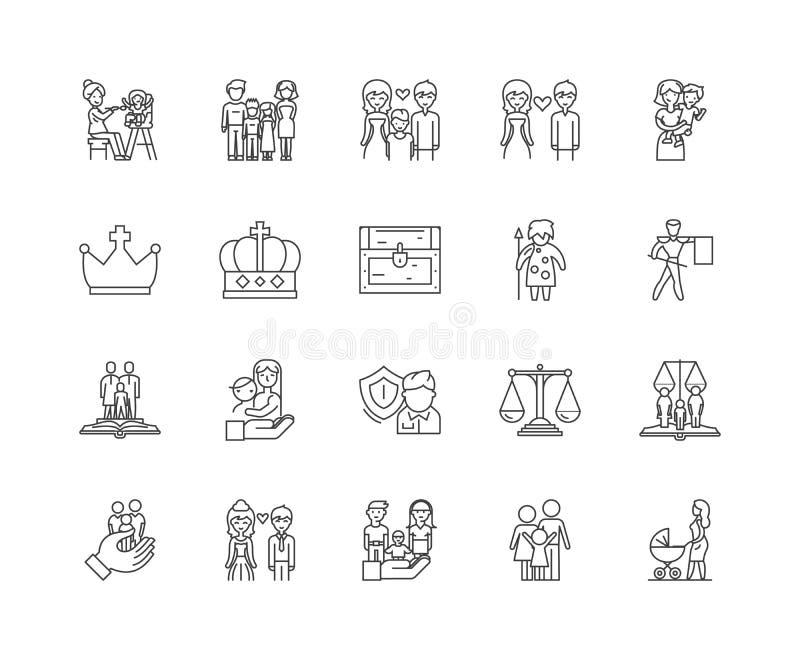 Linha ?cones dos antecedentes familiares, sinais, grupo do vetor, conceito da ilustra??o do esbo ilustração royalty free