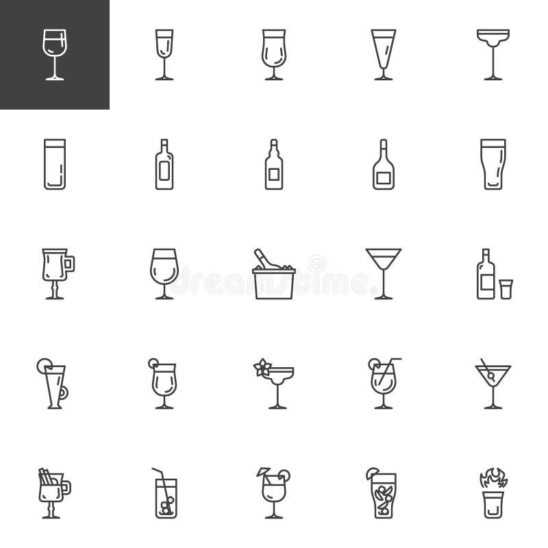 Linha ?cones dos cocktail ajustados ilustração stock