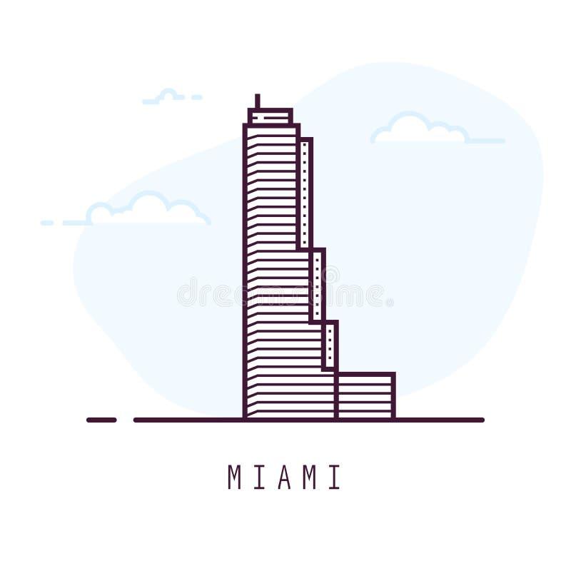 Linha construção de Miami do estilo ilustração royalty free