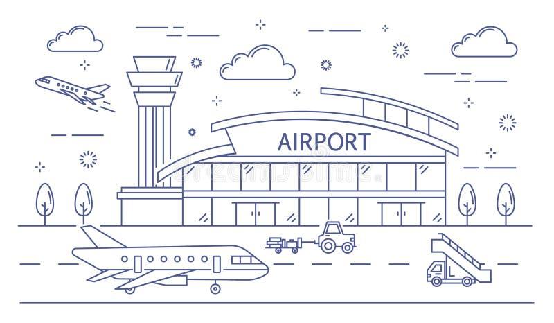 Linha construção do aeroporto ilustração royalty free