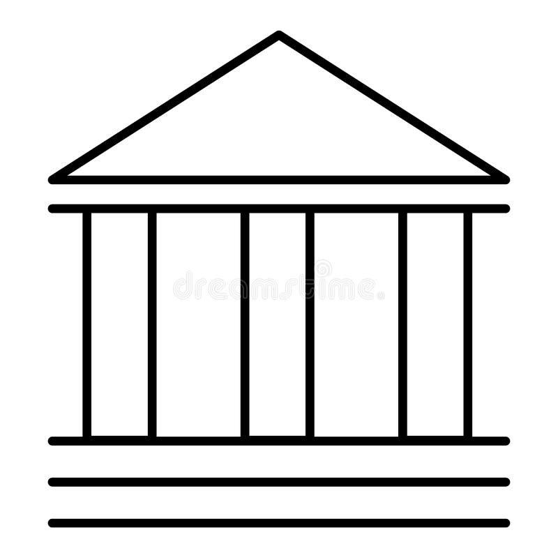Linha construção esboçada da finança do banco do negócio do teatro do banco do vetor do ícone Estilo liso do pictograma Eps 10 ilustração stock