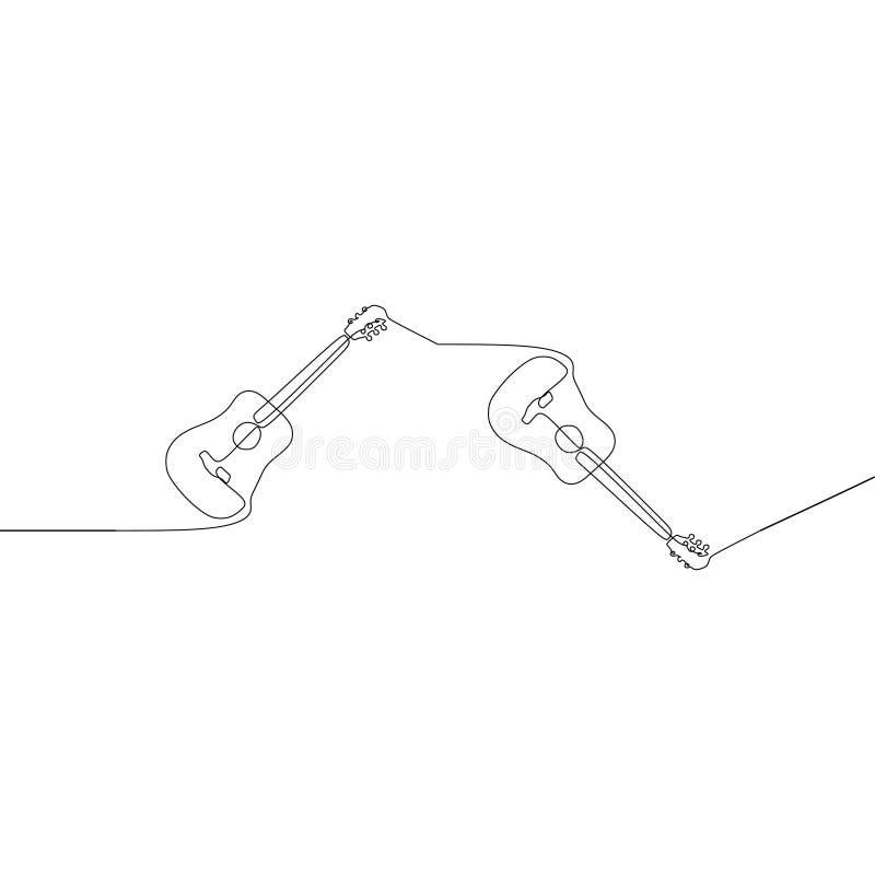 Linha contínua acústica desenho da guitarra elétrica uma do vetor Clipart tirado m?o da silhueta do piano Instrumento musical acú ilustração stock