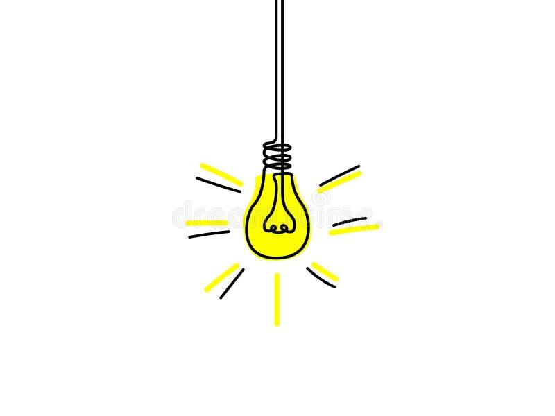 Linha contínua ampola amarela, conceito da ideia Ilustra??o do vetor ilustração royalty free