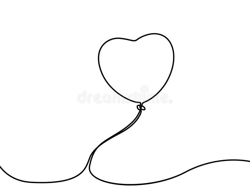 Linha contínua balão na forma de um coração Ilustra??o do vetor ilustração royalty free