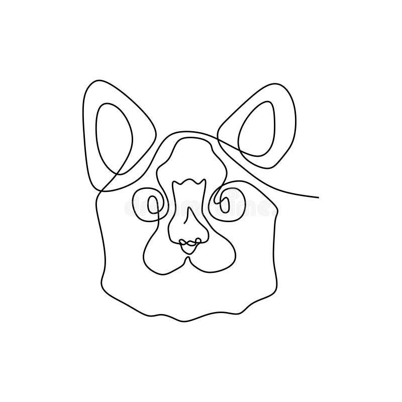 linha contínua cabeça eps 1 do gato ilustração royalty free