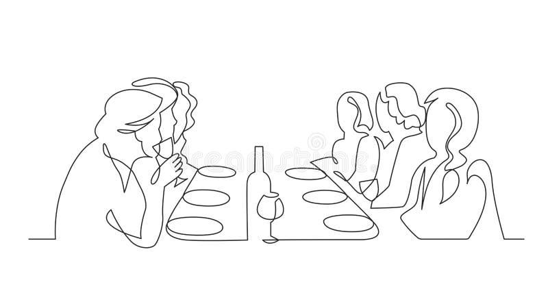 Linha contínua desenho da festa de anos uma do vetor ilustração royalty free