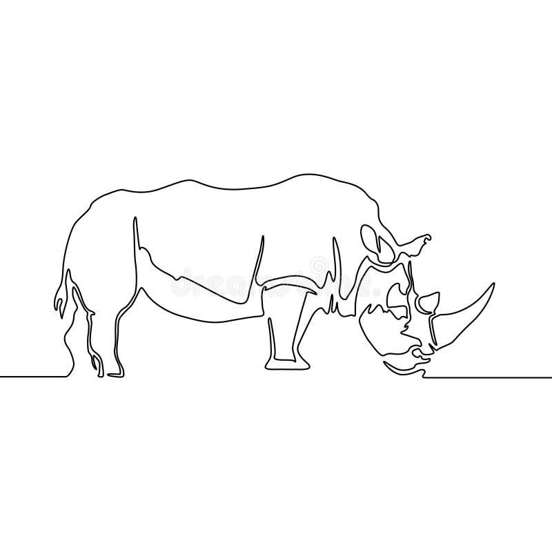 Linha contínua do rinoceronte isolada no fundo branco Rinoceronte do vetor ilustração royalty free