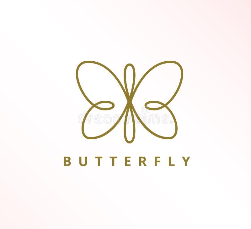 linha contínua elegante minimalista simples projeto do logotipo do vetor do ícone da borboleta ilustração stock