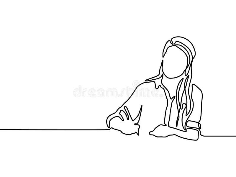 Linha contínua escrita da mulher com pena Educação da mulher ilustração royalty free