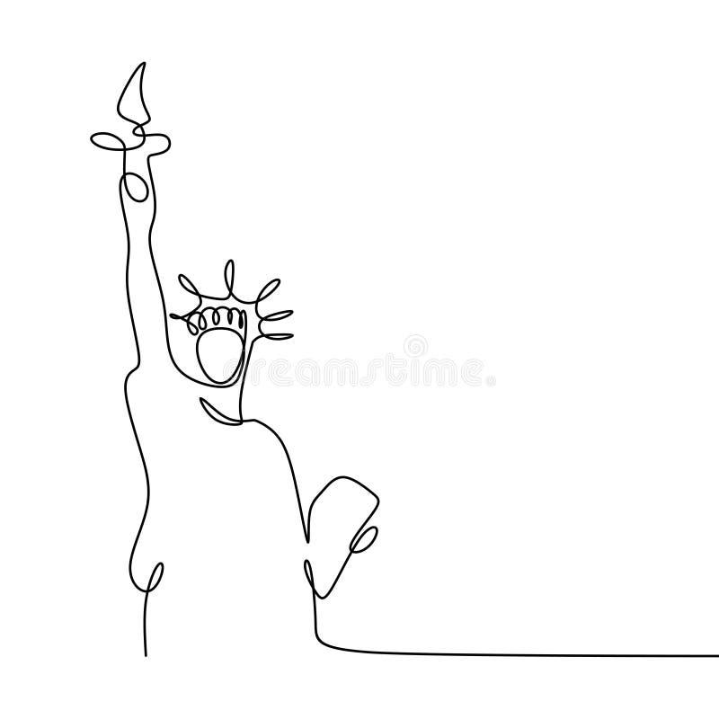 Linha contínua estilo da estátua da liberdade uma do minimalismo da ilustração do vetor ilustração royalty free
