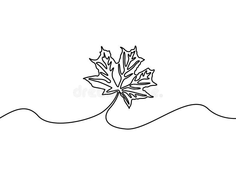Linha contínua folha de bordo, natureza Tema do outono Ilustra??o do vetor ilustração royalty free