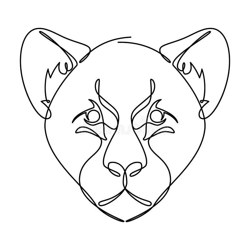Linha contínua gráfico de Cub do leopardo de vetor ilustração stock