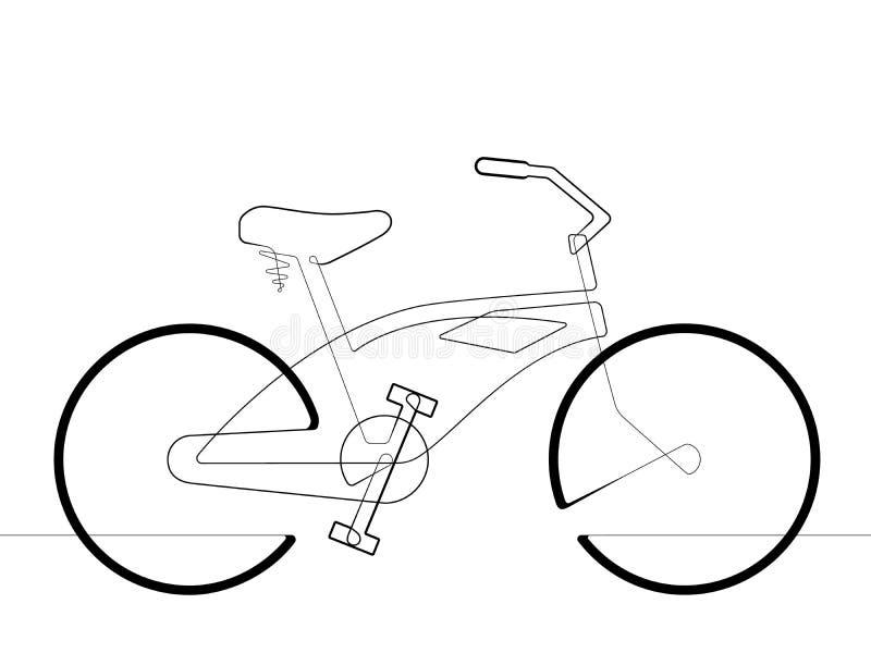 Linha contínua ilustração da bicicleta do cruzador da praia única do gráfico de vetor ilustração stock