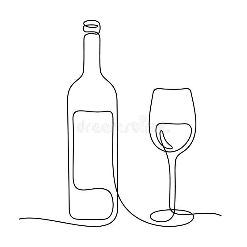 Linha contínua ilustração da composição do vinho do vetor ilustração do vetor