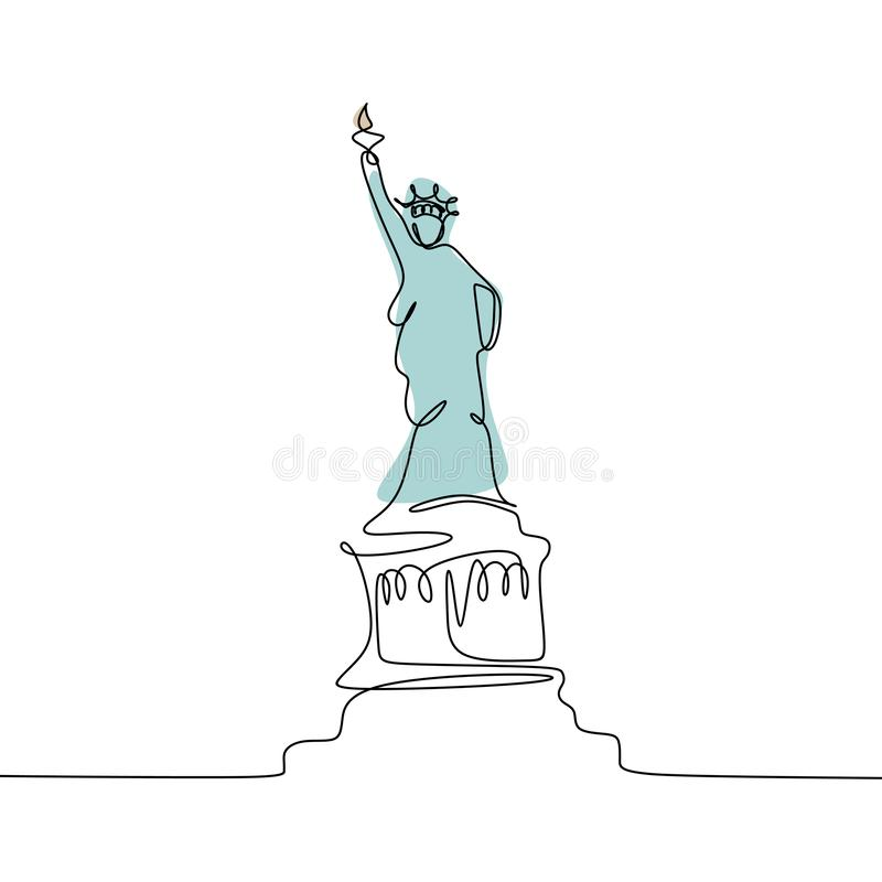 Linha contínua ilustração da estátua da liberdade uma do vetor isolada no fundo branco ilustração stock