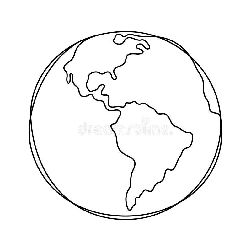 Linha contínua ilustração da terra do vetor ilustração stock