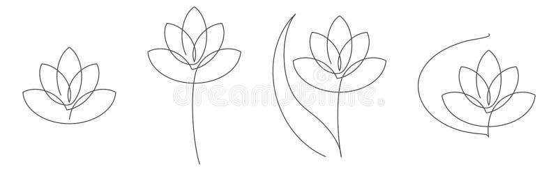 A linha contínua ilustração dos lótus da flor do vetor ajustou-se com curso editável para o design floral ou o logotipo ilustração royalty free