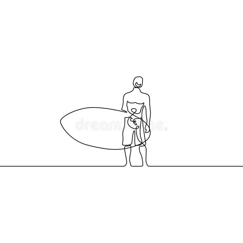 A linha contínua indivíduo levanta-se com paddleboard ou prancha Ilustra??o do vetor ilustração stock