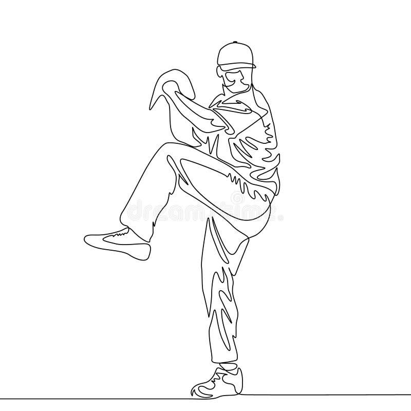Linha contínua jarro do jogador de beisebol que vai jogar a bola ilustração stock