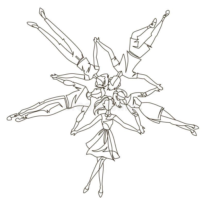 Linha contínua jovem que coloca no círculo Uma linha Art Friends Togetherness, conceito da amizade ilustração stock
