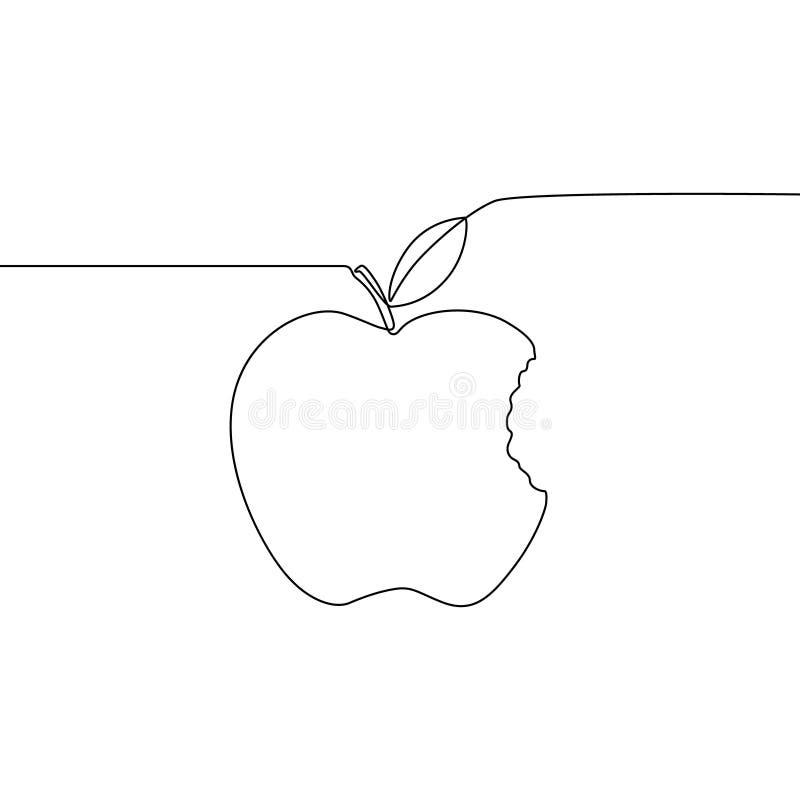 Linha contínua maçã mordida com folha Ilustra??o do vetor ilustração royalty free