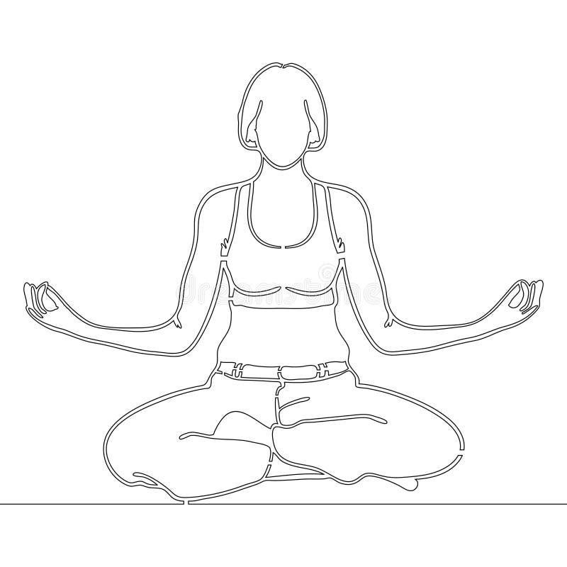 Linha contínua meditar da mulher do desenho da arte ilustração do vetor