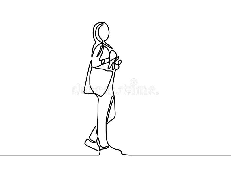 Linha contínua menina da posição do estudante Primeiro dia da faculdade Ilustra??o do vetor ilustração stock
