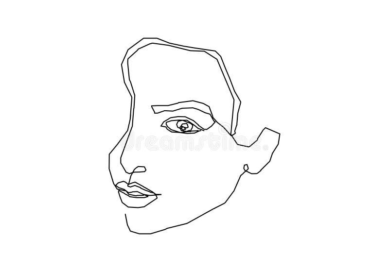 Linha contínua minimalismo de estilo original do projeto do sumário da cara da menina da arte minimalistic no fundo branco ilustração do vetor