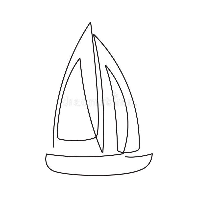 Linha contínua moderna barco de navigação Um a lápis desenho do formulário para o logotipo, cartão do navio, bandeira, inseto do  ilustração royalty free