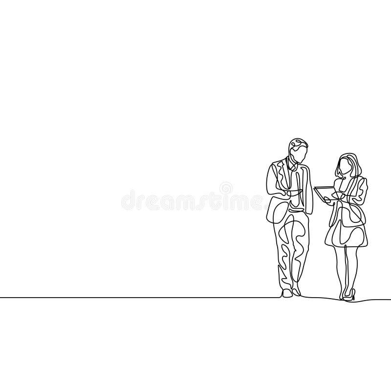 Linha contínua mulher de negócios e homem de negócios para discutir o trabalho ilustração royalty free