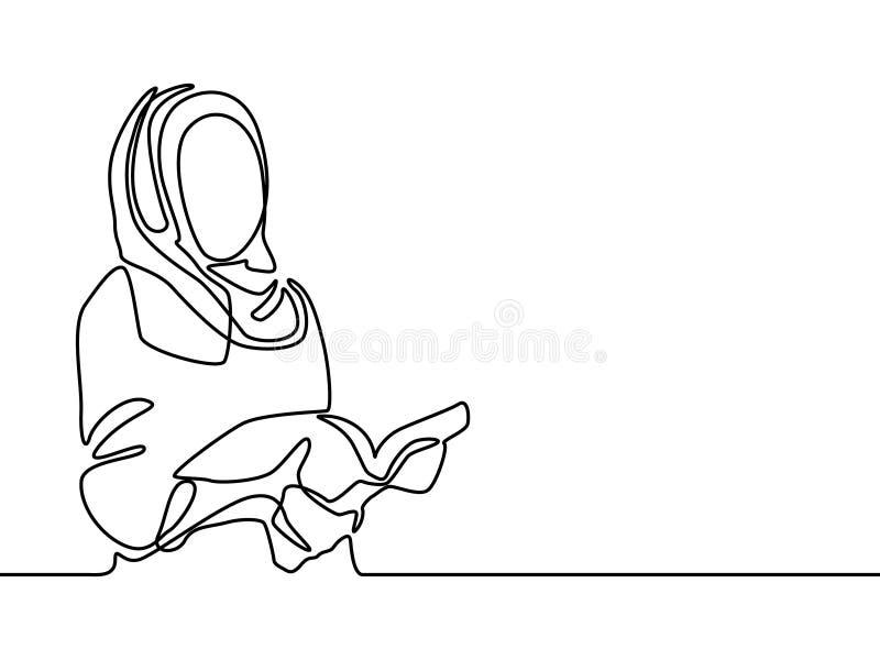 A linha contínua mulher islâmica leu um livro, estudante muçulmano Ilustra??o do vetor ilustração royalty free