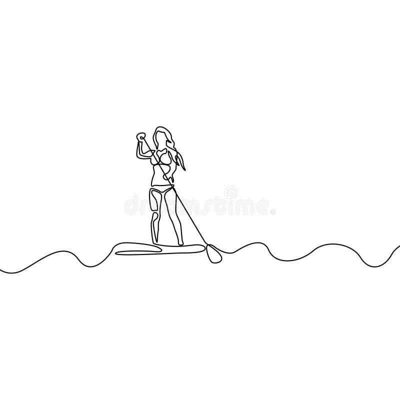 Linha contínua mulher que levanta-se na placa de pá Ilustra??o do vetor ilustração stock