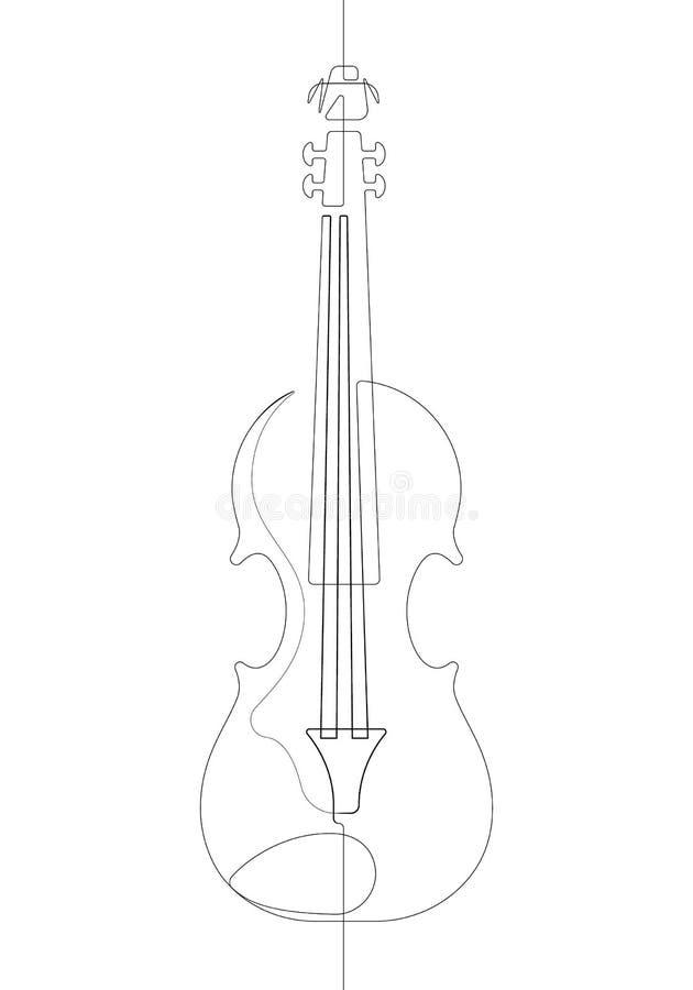 Linha contínua preto e branco ilustração do violino uma única do gráfico de vetor ilustração do vetor
