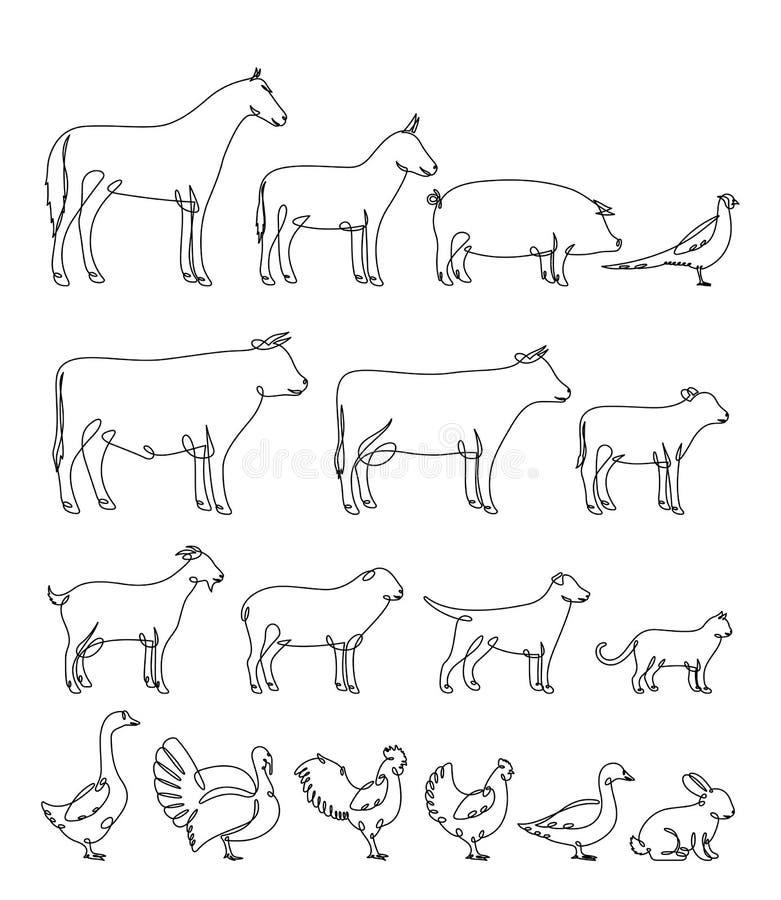 Linha contínua silhuetas do vetor dos animais de exploração agrícola ilustração do vetor
