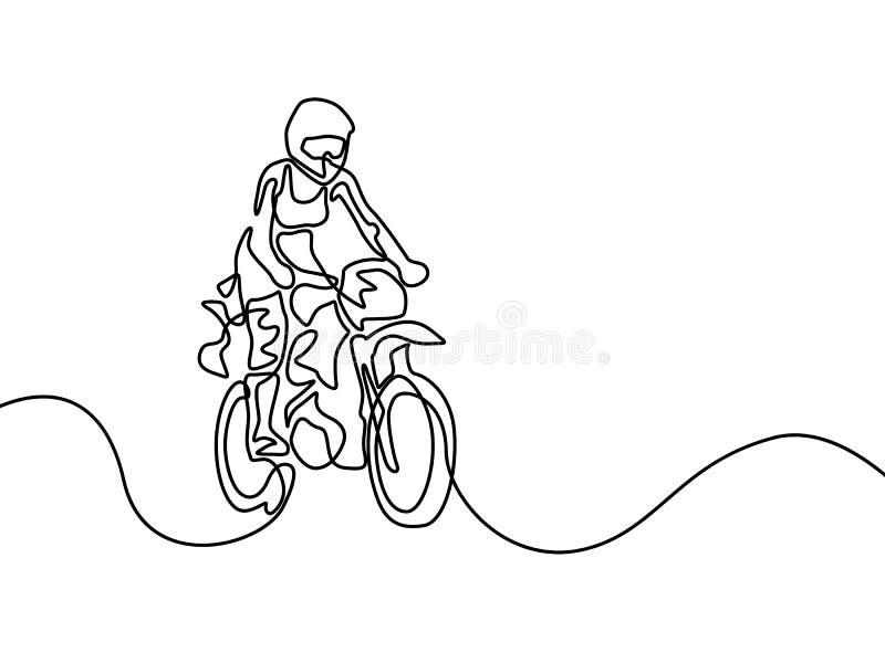 Linha contínua stund da mulher acima da montada no velomotor Ilustra??o do vetor ilustração stock
