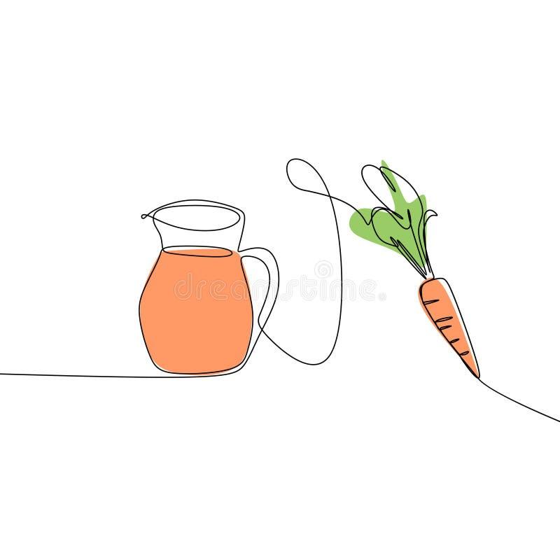 Linha contínua vetor da cenoura e do suco do desenho da arte Conceito da dieta saudável ilustração royalty free