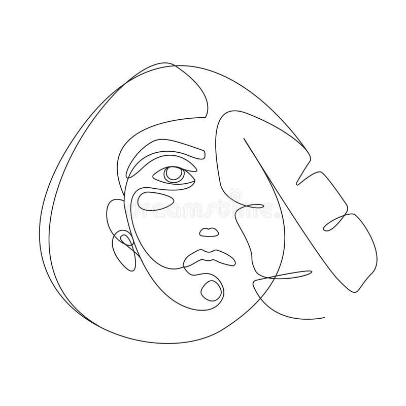 Linha cont?nua Cara da mulher com folha tropical Ilustração minimalistic do estilo do retrato para o t-shirt, cópia do projeto ilustração royalty free