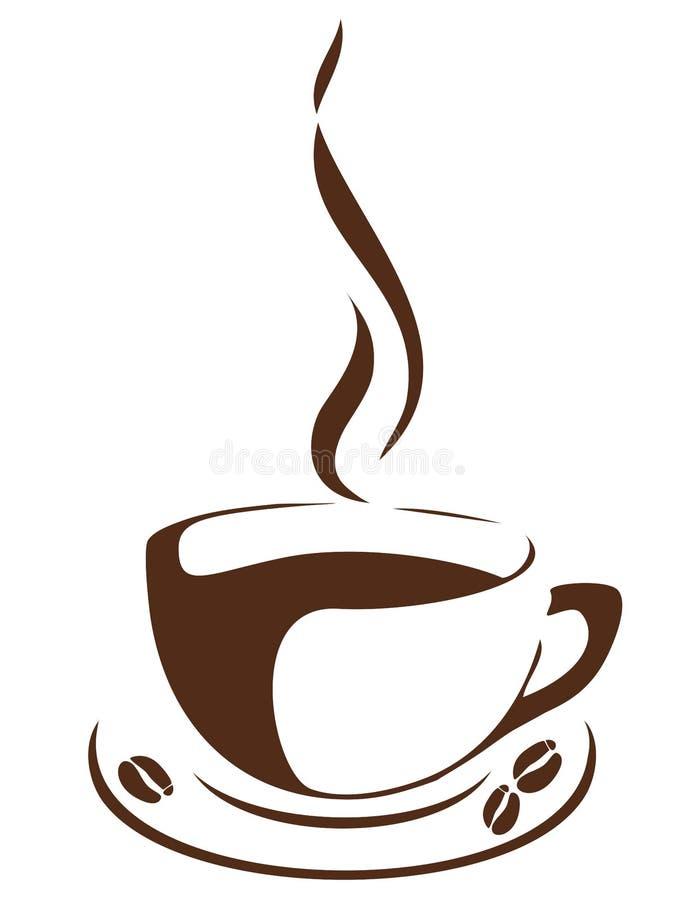 Linha copo de café da arte com feijões ilustração do vetor