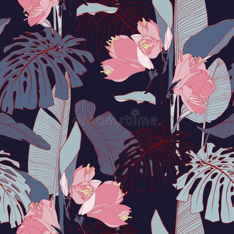 Linha cor-de-rosa flores do l?rio com as folhas ex?ticas do monstera, escuras - fundo azul Teste padr?o sem emenda floral ilustração royalty free