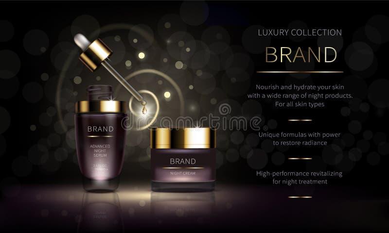 Linha cosmética da noite para a pele da cara ilustração stock
