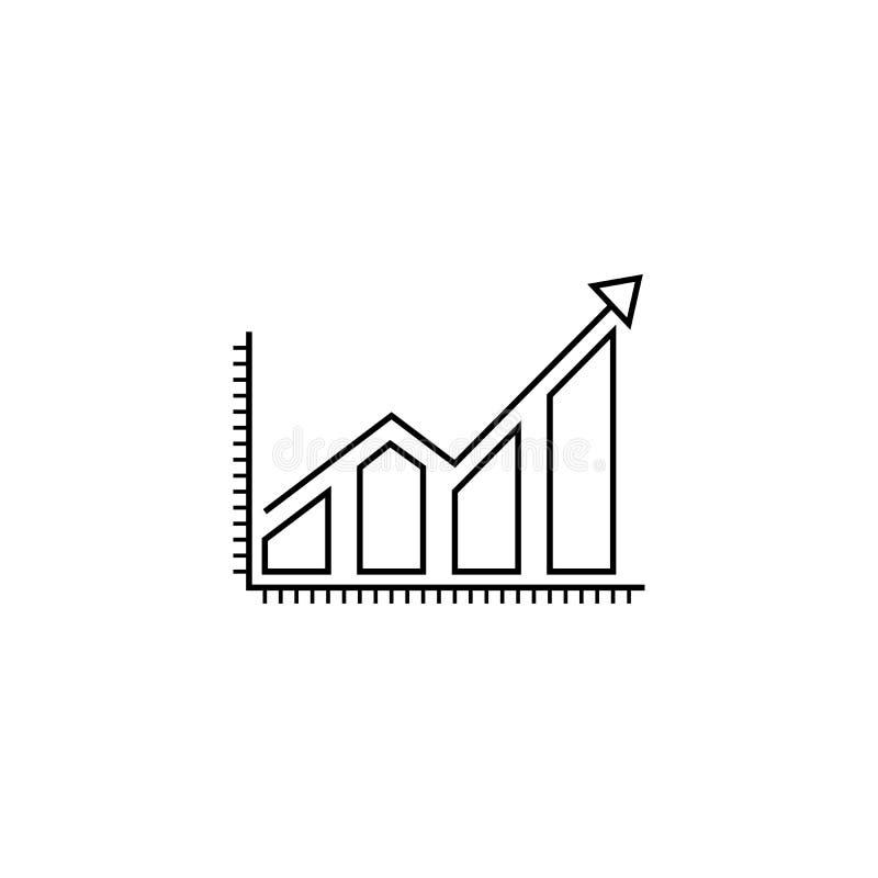 Linha crescente ícone do gráfico do negócio, Infographic ilustração do vetor