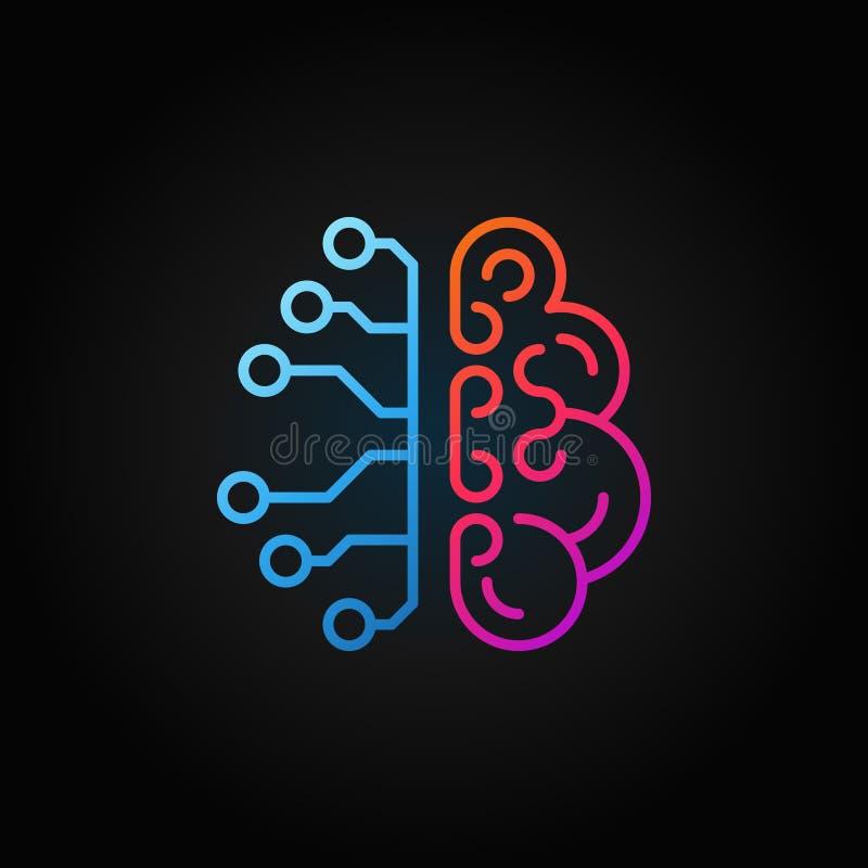 Linha criativa ícone do cérebro da inteligência artificial Vector o sinal ilustração do vetor