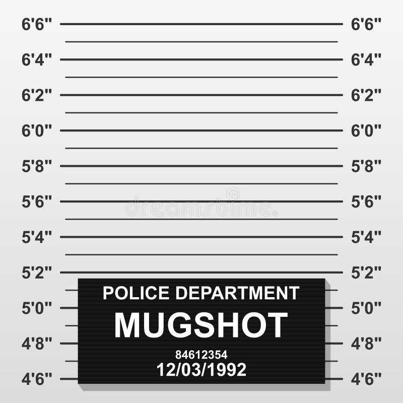Linha criminosa do tiro de caneca O mugshot da polícia adiciona uma foto Formação vazia da polícia criminosa com a escala do cent ilustração do vetor