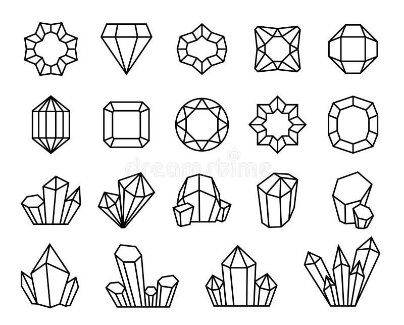 Linha cristais Os diamantes preciosos do esboço da joia mineral da pedra de gema de pedra preciosa dão forma ao cristal luxuoso ilustração royalty free