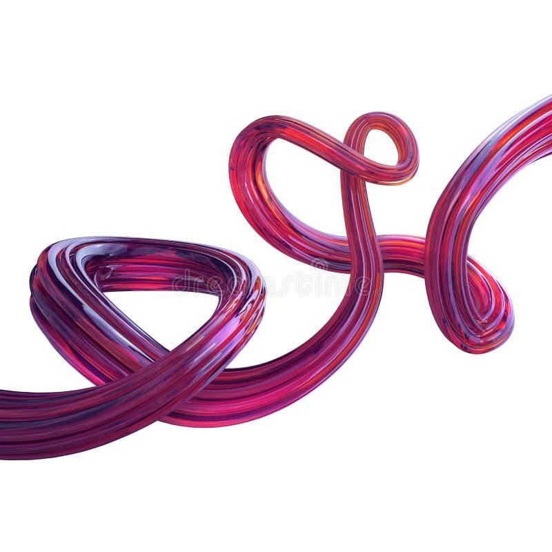 Linha 3d cor-de-rosa torcida sumário isolada no branco imagens de stock royalty free