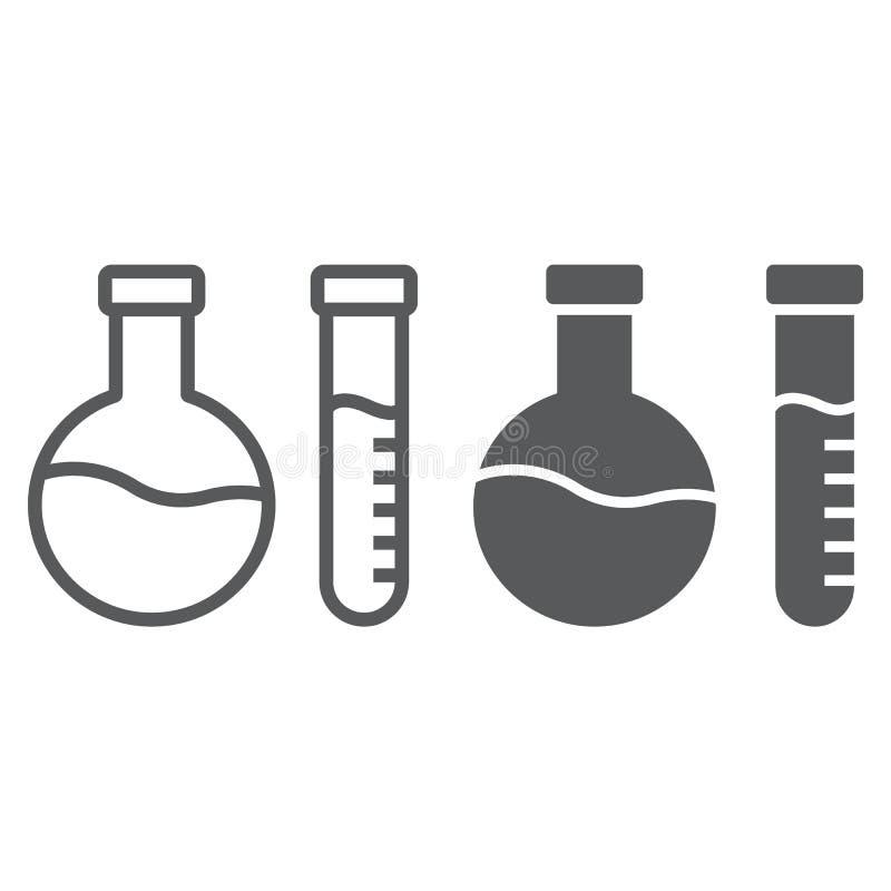 Linha da análise química e ícone do glyph, laboratório e garrafa, sinal do teste do tubo, gráficos de vetor, um teste padrão line ilustração royalty free