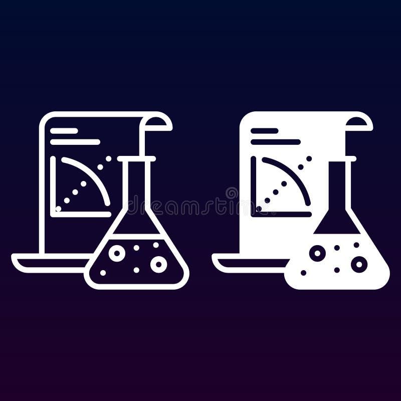 Linha da aplicação da ciência e ícone contínuo, esboço e pictograma enchido do sinal do vetor, o linear e o completo isolados no  ilustração royalty free