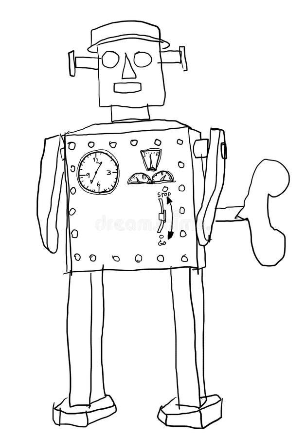Linha da arte do homem do robô ilustração do vetor