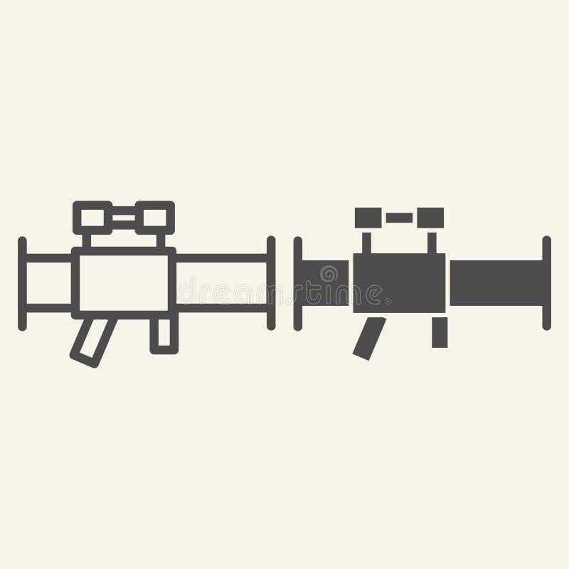 Linha da bazuca e ícone do glyph Ilustração do vetor da lança-foguetes isolada no branco Projeto do estilo do esboço da arma ilustração stock